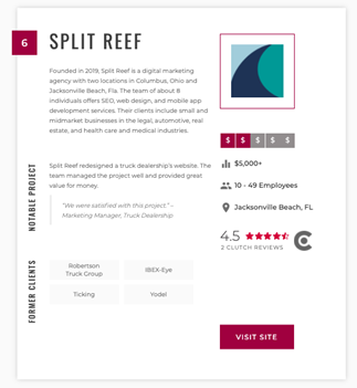 Split Reef Recognized By The Manifest as Top SEO, Web Design, and Mobile App Development Firms in Ohio